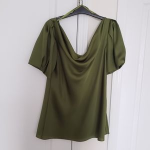 Le Chateau Green Swoop Neck Satin Top